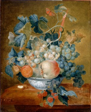 Classic Still Life Painting - A Delft Bowl with Fruit Francina Margaretha van Huysum still life