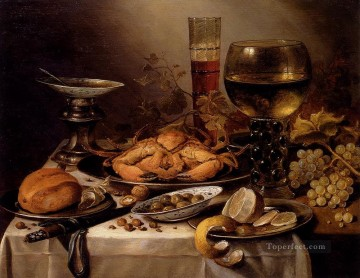 Silver Painting - Banquet Still Life With A Crab On A Silver Platter Pieter Claesz