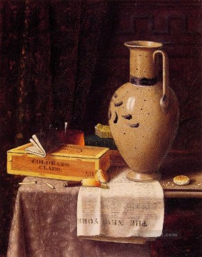 Classic Still Life Painting - Cigar Box Pitcher and New York Herald William Harnett still life