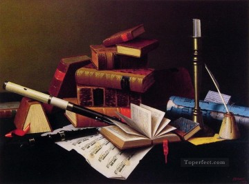 Classic Still Life Painting - Music and literature William Harnett still life