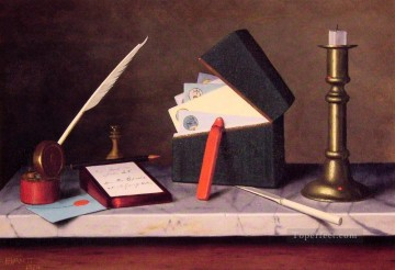 Still life Painting - Secretarys Table William Harnett still life