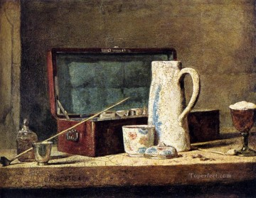 drinking - Simeon Pipes And Drinking Pitcher Jean Baptiste Simeon Chardin still life