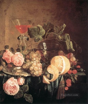 Classic Still Life Painting - Still Life With Flowers And Fruit Dutch Jan Davidsz de Heem