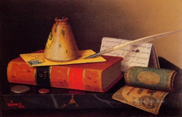 Classic Still Life Painting - Still Life Writing Table William Harnett