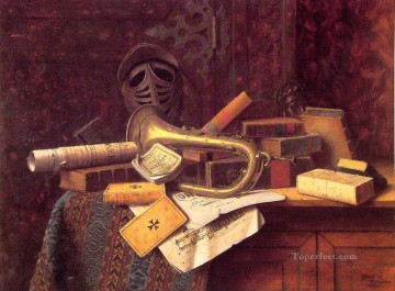 Classic Still Life Painting - Still Life with Bust of Dante William Harnett