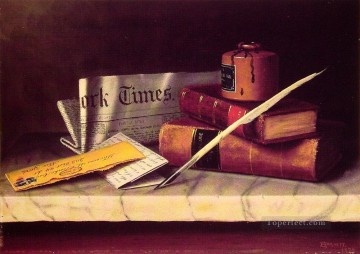 Classic Still Life Painting - Still Life with Letter to Thomas B Clarke William Harnett