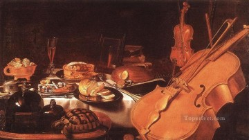 古典主义静物绘画 - Still Life with Musical Instruments 彼特·克莱茨