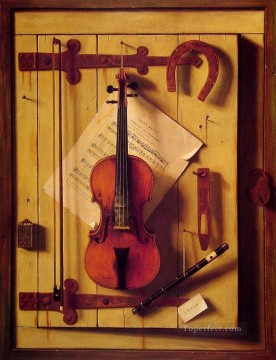 Still life Painting - Still life Violin and Music William Harnett