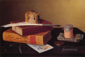 Still life Painting - The Bankers Table William Harnett still life