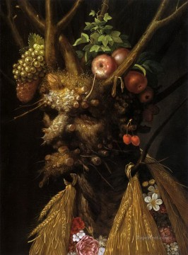 Still life Painting - The Four Seasons in one Head Giuseppe Arcimboldo Classic still life