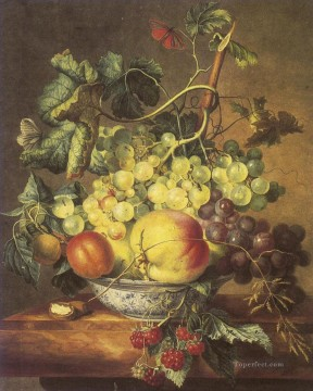 Artworks in 150 Subjects Painting - Vruchtenstilleven in een porseleine kom Francina Margaretha van Huysum still life