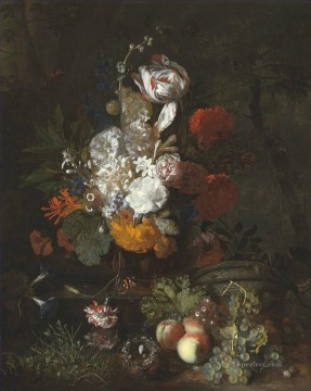 still life lifes Painting - A still life with flowers and fruits with a bird nest and eggs Jan van Huysum