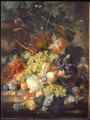 Jan van Huysum Classic Still life of fruit heaped in a basket next to an urn 1730s Jan van Huysum