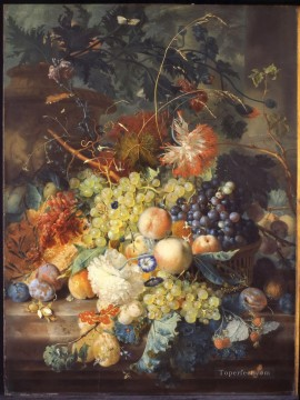 Classic Still Life Painting - Jan van Huysum Classic Still life of fruit heaped in a basket next to an urn 1730s Jan van Huysum