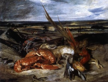 Classic Still Life Painting - Still Life with Lobster Eugene Delacroix