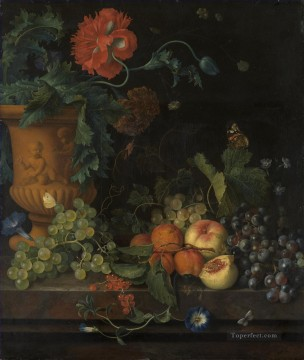 Still life Painting - Terracotta Vase with Flowers and Fruits Jan van Huysum Classic Still life