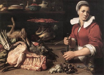 Still life Painting - Cook With Food still life Frans Snyders