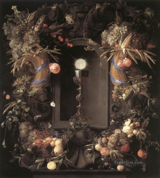 Still life Painting - Eucharist In Fruit Wreath flower still lifes Jan Davidsz de Heem