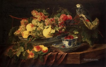 Still life Painting - classical Still life with Fruits and Parrot Classic still life