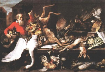 Still life Painting - Still Life With Dead Game Fruits And Vegetables In A market Frans Snyders