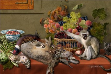 Still life Painting - Still Life With Fruit Game Vegetables and Live Monkey Squirrel and a Cat Classic still life