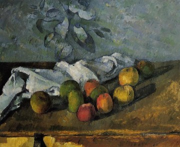 Still life Painting - Apples and a Napkin Paul Cezanne Impressionism still life
