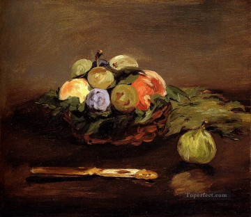 Still life Painting - Basket Of Fruit Impressionism Edouard Manet still lifes