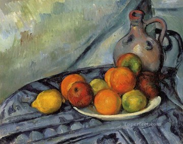 Still life Painting - Fruit and Jug on a Table Paul Cezanne Impressionism still life