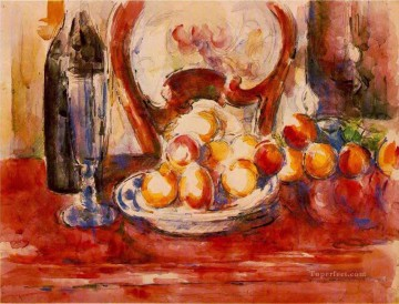 Still life Painting - Still Life Apples a Bottle and Chairback Paul Cezanne