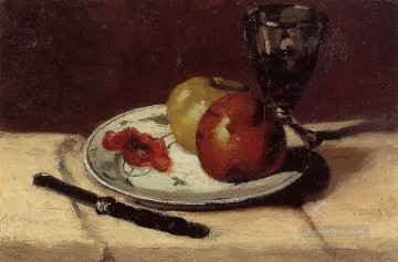 Still life Painting - Still Life Apples and a Glass Paul Cezanne