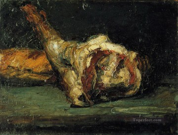 Still life Painting - Still Life Bread and Leg of Lamb Paul Cezanne