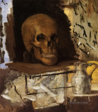 Still life Painting - Still Life Skull and Waterjug Paul Cezanne
