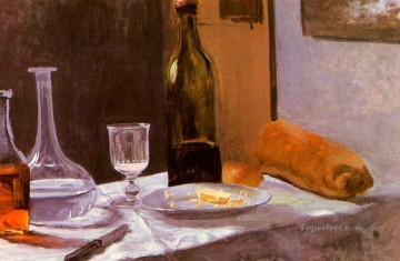 wine pub pubs folies bars nighthawks Painting - Still Life with Bottle Carafe Bread and Wine Claude Monet