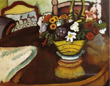 Still life Painting - Still Life with Stag Cushion and Flowers Expressionism August Macke