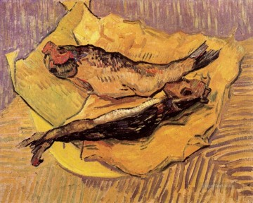 vincent van gogh Painting - Bloaters on a Piece of Yellow Paper Vincent van Gogh Impressionism still life