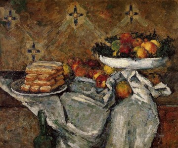 Still life Painting - Compotier and Plate of Biscuits Paul Cezanne Impressionism still life