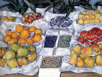 impressionists Oil Painting - Fruit Displayed On A Stand Impressionists Gustave Caillebotte still lifes