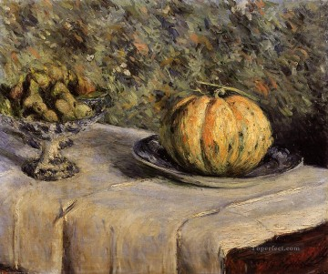 impressionists Oil Painting - Melon and Bowl of Figs Gustave Caillebotte 1880 Impressionists Gustave Caillebotte still lifes
