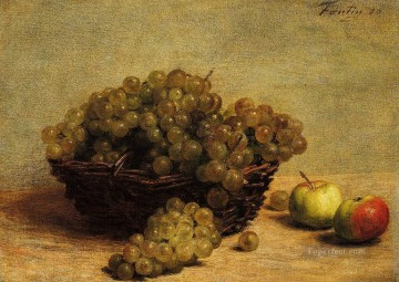 Nature Painting - Nature Morte Raisin et Pommes dApi Henri Fantin Latour still lifes