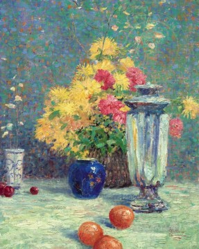 Impressionist Still Life Painting - Silver and Gold Robert Girrard Thomas Kinkade still life flower vase