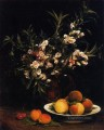 Still Life Balsimines Peaches and Apricots flower painter Henri Fantin Latour