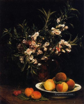 Impressionist Still Life Painting - Still Life Balsimines Peaches and Apricots flower painter Henri Fantin Latour