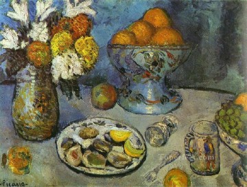 Impressionist Still Life Painting - Still Life Le dessert 1901 cubist Pablo Picasso impressionistic