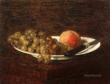 Still life Painting - Still Life Peach and Grapes Henri Fantin Latour
