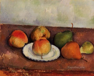 Still life Painting - Still Life Plate and Fruit 2 Paul Cezanne