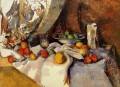 Still Life Post Bottle Cup and Fruit Paul Cezanne