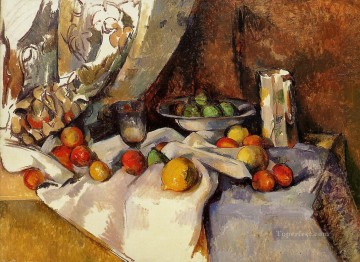 Still life Painting - Still Life Post Bottle Cup and Fruit Paul Cezanne
