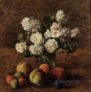 Still life Painting - Still Life Roses and Fruit flower painter Henri Fantin Latour