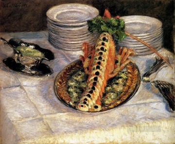 impressionists Oil Painting - Still Life With Crayfish Impressionists Gustave Caillebotte