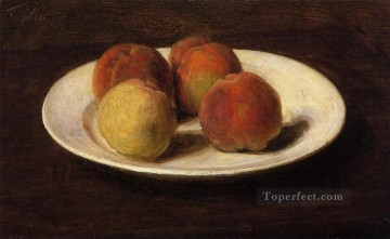 Still life Painting - Still Life of Four Peaches Henri Fantin Latour